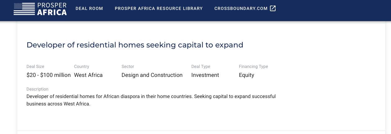 Prosper Africa Virtual Deal Room Listing
